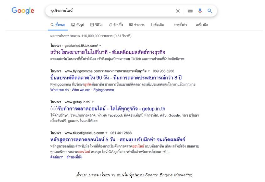 ลงโฆษณาออนไลน์รูปแบบ Search Engine Marketing